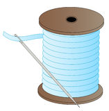 Needle and thread. Blue spool of thread with threaded needle attached - vector Royalty Free Stock Image