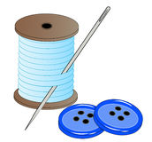 Needle thread and buttons. Blue thread with needle and two blue buttons - vector Royalty Free Stock Photo