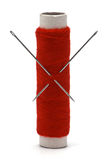 Needle and thread isolated stock photo