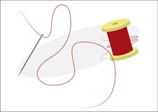 Needle with Thread and Reel. Vector illustration isolated. A Needle with Thread and Reel, on a White Background. Vector illustration isolated, sewing royalty free illustration