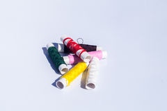Needle, thread and scissors, sewing items. Hand stitching made up of needle, thread and scissors, sewing items stock photography