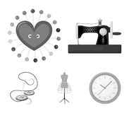 Needle and thread, sewing machine, pincushion, dummy for clothing. Sewing and equipment set collection icons in. Monochrome style vector symbol stock Royalty Free Stock Photography