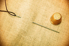 Needle thread thimble retro Stock Image