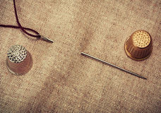 Needle, thread, thimble Royalty Free Stock Image