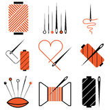Needle and tread icons. Vector set Royalty Free Stock Photo