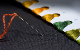 Needle and variegated threads set. Criss-cross set - pastime concept Royalty Free Stock Image