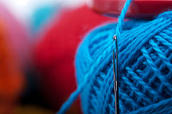 Needle with yarn Royalty Free Stock Photos