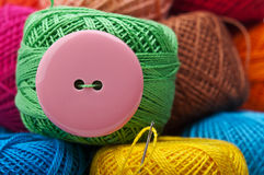 Needle with yarn thread Stock Photo
