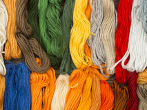 Needlecraft embroidery threads. Creating beautiful colorful background, top view Stock Photography