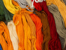 Needlecraft embroidery threads. Creating beautiful colorful background, top view Stock Images