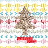 Needlepoint winter background. Abstract illustrated background with handmade needlepoint designs including a large evergreen tree and the words Winter Love Stock Photography