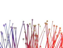 Needles. A number of needles in blue and red light Royalty Free Stock Photo