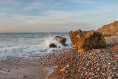 Needles. Beach with rocks on Isle of Wight by Needles Royalty Free Stock Photography