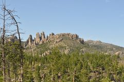 The Needles in Black Hills South Dakota and Mountain Views. The Needles in the Black Hills South Dakota was the original proposed site for Mt. Rushmore carvings Stock Photo