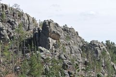 The Needles in Black Hills South Dakota and Mountain Views. The Needles in the Black Hills South Dakota was the original proposed site for Mt. Rushmore carvings Stock Photography