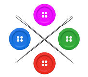 Needles and Buttons Set Royalty Free Stock Photos