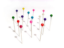 Needles with colored heads Royalty Free Stock Image