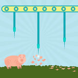 Needles exploding pigs. Machine with needles exploding pigs in the filed. Concept. Metaphorical Royalty Free Stock Photos