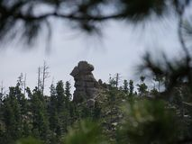 Needles Highway, Custer State Park photos, South Dakota. Dramatic rock formation on a mountaintop at Needles Highway in Custer State Park, South Dakota royalty free stock photos
