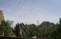 Needles Highway, Custer State Park photos, South Dakota. Rock formations near the entrance of Needle\'s Eye tunnel at Needles Highway in South Dakota stock photos
