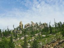 Needles Highway, Custer State Park photos, South Dakota. Upward shot of dramatic granite rock formations sticking out to the skies, one of the best attractions stock photos