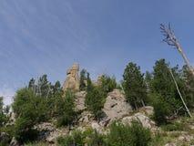 Needles Highway, Custer State Park photos, South Dakota. Upward shot of rock formations at Needles Highway in South Dakota royalty free stock image