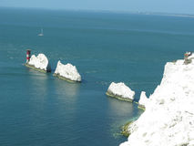 The Needles, Isle of Wight. An aerial view of The Needles natural chalk feature off the Isle of Wight Stock Photography