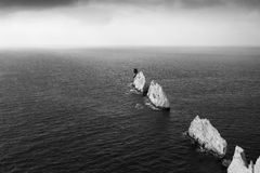 The Needles, Isle of Wight. Black and white shot of the Needles, Isle of Wight and the lighthouse royalty free stock photos