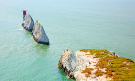 Needles Isle of Wight landmark by Alum Bay Royalty Free Stock Photo