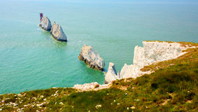 The Needles Isle of Wight landmark by Alum Bay Stock Photos