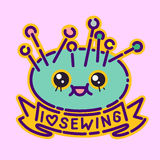 Needles pillow badge, cute kawaii flat design style sign, dressmaker icon, I love sewing lettering, vector cartoon character Stock Image