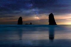 The Needles Rocks Under Starry Night Sky along Oregon coast Royalty Free Stock Photo