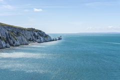 The Needles. Is a row of three distinctive stacks of chalk that rise out of the sea off the western extremity of the Isle of Wight, UK, close to Alum Bay Royalty Free Stock Image