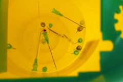 Needles in sharps container medicine royalty free stock photos