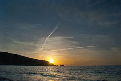 Needles. Sunset by Needles in Isle of Wight royalty free stock photos