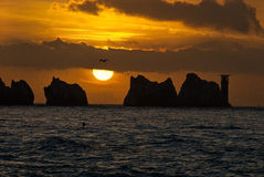 Needles. Sunset by Needles in Isle of Wight Stock Images