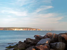 Needles Sunset Rocks. Sunset over the Needles, seen from Milford on Sea Royalty Free Stock Photos