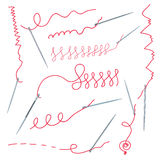 Needles and thread collection Royalty Free Stock Photos