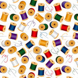 Needles&Threads Seamless Background, White. Spools of thread in jeweltone colors with needles & thread on a white background for sewing, quilts, needlecraft Stock Photography