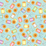 Needles & Threads Seamless, Pastels, Aqua BG Royalty Free Stock Photos