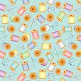 Needles & Threads Seamless, Pastels, Aqua BG. Pastel needles & threads on a pastel aqua background for sewing, quilts, needlecraft, arts, crafts, scrapbooks & Royalty Free Stock Photos