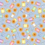 Needles & Threads Seamless, Pastels, Blue BG. Pastel needles & threads on a pastel blue background for sewing, quilts, needlecraft, arts, crafts, scrapbooks & Royalty Free Stock Photos