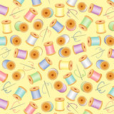 Needles&Threads Seamless, Pastels, Yellow BG. Pastel needles & threads on a pastel yellow background for sewing, quilts, needlecraft, arts, crafts, scrapbooks & Stock Photo
