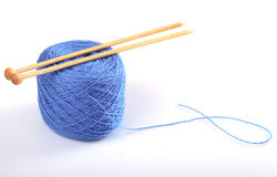 Needles on wool Royalty Free Stock Photo