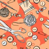 Needlewoman set. Vector seamless pattern with needlewoman set Stock Images