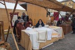 Needlewomen. Craftsmen market in Bologna. Tuscany, Italy. Royalty Free Stock Photo