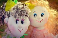 Needlework, игрушки оригинала в форме забавных кукол Стоковые Изображения