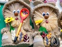 Needlework, игрушки оригинала в форме забавных кукол Стоковые Фото