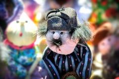 Needlework, игрушки оригинала в форме забавных кукол Стоковая Фотография RF