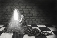 Needlework. A pencil drawing of a girl doing needlework in a dark medieval castle Royalty Free Stock Photography